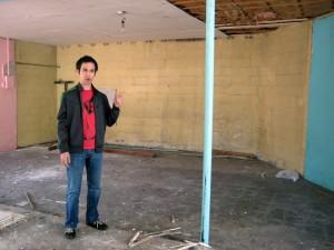 Ryan Harvey inside the Arcade UFO building.